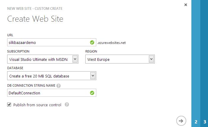Dodawanie Azure Web Site, krok 1.