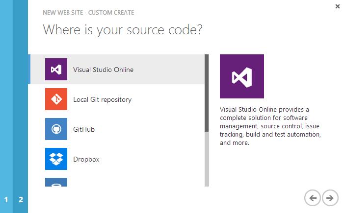Dodawanie Azure Web Site, krok 3.