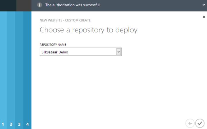 Dodawanie Azure Web Site, krok 5.
