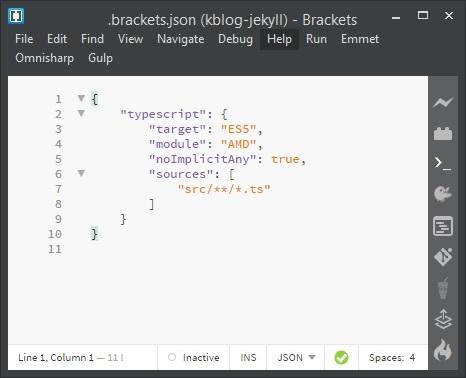 Adobe Brackets - fragment kodu JSON